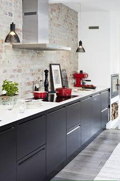 interior design, back splashes, black cabinets, black white, black kitchens, bricks, exposed brick, modern kitchens, kitchen inspir