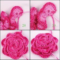 Crocheted Rose tutorial.