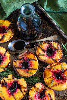 grilled peaches with rosemary and balsamic.