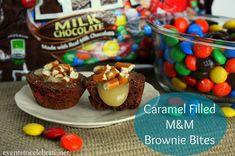 Caramel Filled M&M Brownie Bites