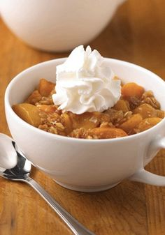 Only 15 minutes to spare and you need a quick sweet tooth fix? This Easy Peach Crisp dessert recipe is made in a microwave in a mug so it's a snap to prepare for one or more!