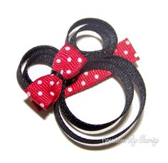 Minnie Mouse Hair Bow Clip Disney Girl by creationsbycharity