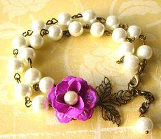 Pearl Bracelet, Bridesmaid Jewelry Sets, Flower Bracelet, Leaf Jewelry - Isn't this beautiful?