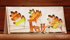 Dimensional fall card using the Cricut, ribbon, and lots of glitter!
