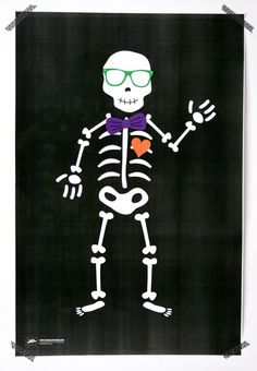 Free Printables - Halloween Kids Game - Pin the Heart, Bowtie or Sunglasses on the Skeleton