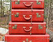 vintage suitcases, red, vintage trunks, box, luggag set, old photos, vintage luggage, vintage life, roads