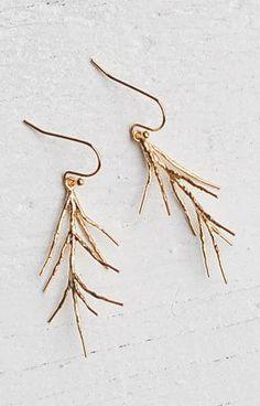 Gold Pine Needle Earrings Woodland EARRINGS