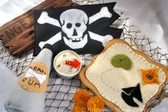 Love this handmade 9-piece felt pirate toy set for kids