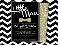 Dapper Little Man Mustache Bow Tie Baby Shower Birthday Party Printable Invitation