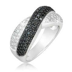 $499.99 1.25 Carat Black and White Diamond Ring in 14K White Gold