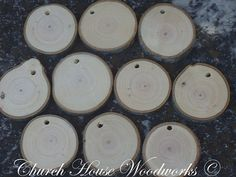 40 small wood slice ornaments, with holes, tree branch slices, pendants, wood jewelry,