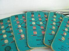 Bingo Game Cards - Vintage Bingo Boards with Advertising 1960s 1970s. $10.00, via Etsy.