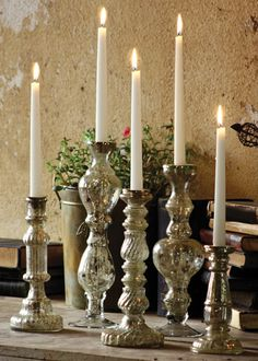 Antiqued Silver Glass Taper Candle Holders $18.00