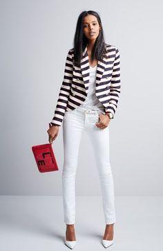 stripe blazer/white jeans