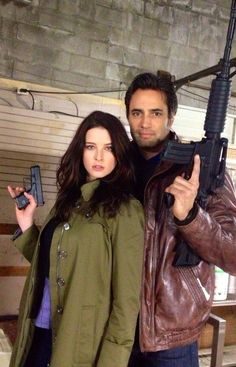 "Rachel Nichols and Victor Webster on the set of Continuum Season 2. Victor says ""Have a can of whoop ass that needs opening?"" (via @webstervictor on Twitter)"