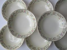 Vintage Paden City Pastel Berry/Dessert Bowls Set by thechinagirl