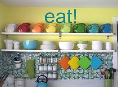 So I don't have ALL those fiesta pitchers, but the yellow paint and blue writing match my colors! love the idea!
