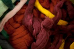 TEXTURES, COLORS, CLOSE-UPS FROM THE STUDIO: Hand-dyed wool.