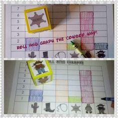 rOLL AND gRAPH Cowboy Wild West Theme Unit Ideas wild west theme, school, math literacy, nordamerika, kindergarten cowboy ideas, rolls, western theme, wild west math, crafts