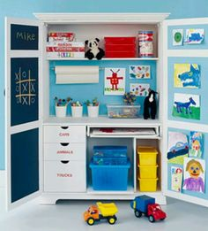Kid art station-convert armoire to storage