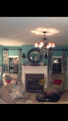 Aqua family room!! Love it......