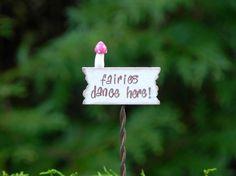 Fairy Garden Sign miniature fairies dance by TheLittleHedgerow, $7.50