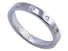 Sterling silver Engagemen... Brent & Jess Fingerprint Wedding Rings Custom Handmade Fingerprint Jewelry ($560)