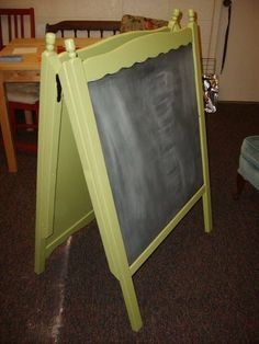 Easel Board: Katie of The Red Kitchen repurposed her old crib as a chalkboard easel. Genius! Get the DIY instructions here.