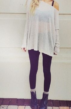Slouchy sweaters. Leggings. Combat boots. Perfection.    Brandy Melville fall favorites   