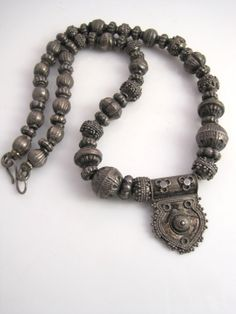 Vintage Indian Necklace  Silver Amulet Necklace  Ethnic by Anteeka
