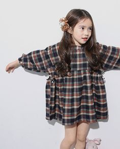 Girls dress for  Everyday, special design! 100% cotton and Grey plaid pattern dress for Autumn & winter 24M~10Years old Made to order