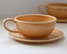 Oversized teacup and saucer  set of 2  MADE TO by vesselsandwares, $90.00