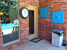 Spray paint ceiling tiles for outdoor porch