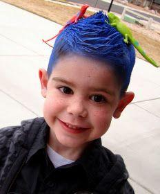 tHe fiCkLe piCkLe: CraZy haIR DaY! crazi hair, hair clips, blue hair, crazy hair days, school buses, hair accessories, hair tips, curly hair, kid
