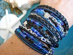 """Denim Blue Ombre Tie Dye... Black Crystal, Blue and Silver Chic Endless Leather Wrap Beaded Bracelet....""""FREE SHIPPING""""   by LeatherDiva, $41.00"""