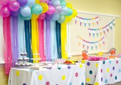 Like the balloons and streamer.  Looks like painted table cloths-nice touch.