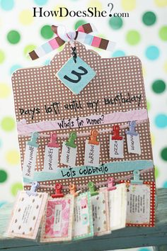 Need to make one of these...Birthday Board