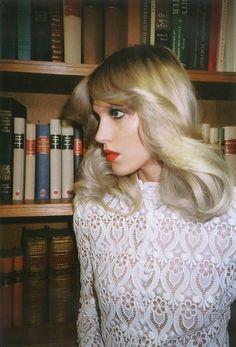 Anja Rubik. Self Service S/S 2013. Photo: Walter Pfeffier. 70's inspired hair! #blonde #hairstyle