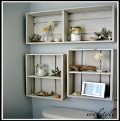 DIY Wall Crates . . . maybe just one in that space above the lid and below the window . . . currently wasted space . . .