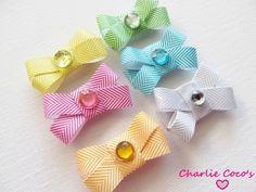 Baby Hair Bows, Baby Girl Hair Clips, Baby Hair Bow Set of 6 Chevron Striped Hair Bows, Little Hair Bows Gift Set