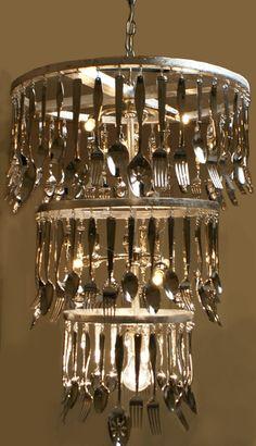 CHANDELIER AT DINING NOOK:    Custom  Made to order Silverware Chandelier. $325.00, via Etsy.