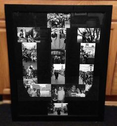 College Logo Picture Frame Collage:     -Used 4x6 black and white -Arranged them in the shape of our alma mater's logo  -Used scrap-booking tape to adhere the photos to black cardboard  -Placed that inside of a black picture frame