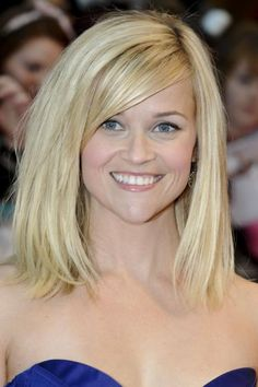 Reese Witherspoon's Blunt Bob A one-length, shoulder-grazing cut with long, side-swept bangs is a stylish option for ladies with fine, st...