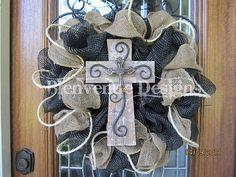 Texas Western Burlap Mesh Wreath Small cross