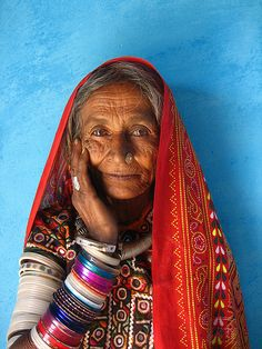 Meghwal Elder II    A very special older woman in the Meghwal village of Bhirandiara.    These tribals came many years ago from Rajasthan to Gujarat and mainly produce leather goods. As with most of the tribals in the area the women also produce vibrantly embroidered clothes, mainly for their own use.