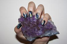 Galaxy/Constellation nail art .. crystals nebula, nail polish, star, nail arts, cloud, rock, crystal, galaxi nail, galaxy nails