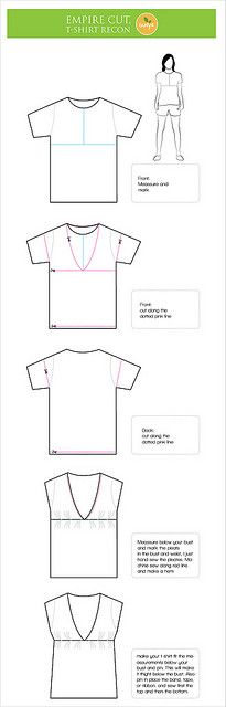 Empire cut Blouse, T-Shirt reconstruction with Tutorial