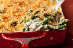 Thanksgiving side dish. The things you make for those you love... This certainly will not be on my plate! Green Bean Casserole with fresh green beans.