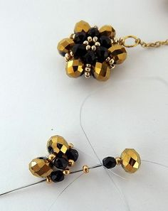 crystals, beaded beads, beaded ring patterns, model, pendant, crystal earrings, black flowers, beaded flowers, beadwork flower