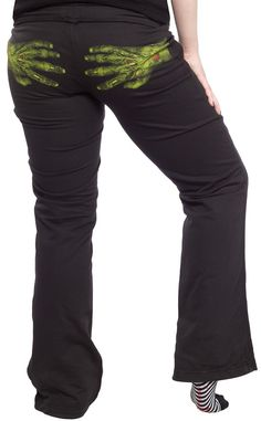 STEADY A CLAW FULL PANTS Has someone got a Claw Full of you?! These cozy lounge pants from Steady feature a pair of green, gruesome & decaying hands printed across the back. $52.00 #steady #loungewear #loungepants #zombie #zombiehands